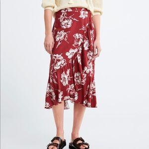 ZARA ruffled floral print skirt